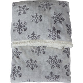 Embossed Snowflake Silver Sherpa Throw