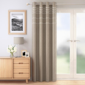 Natural Striped Eyelet Single Voile Panel