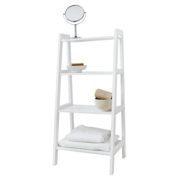White 4 Tier Ladder Shelving White