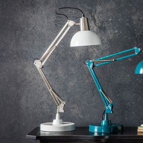 Gallery Direct Watson Brushed Nickel Task Desk Lamp White