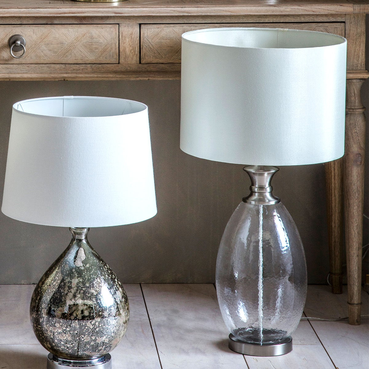Dunelm Gallery Direct Sulgrave Table Lamp Clear and White