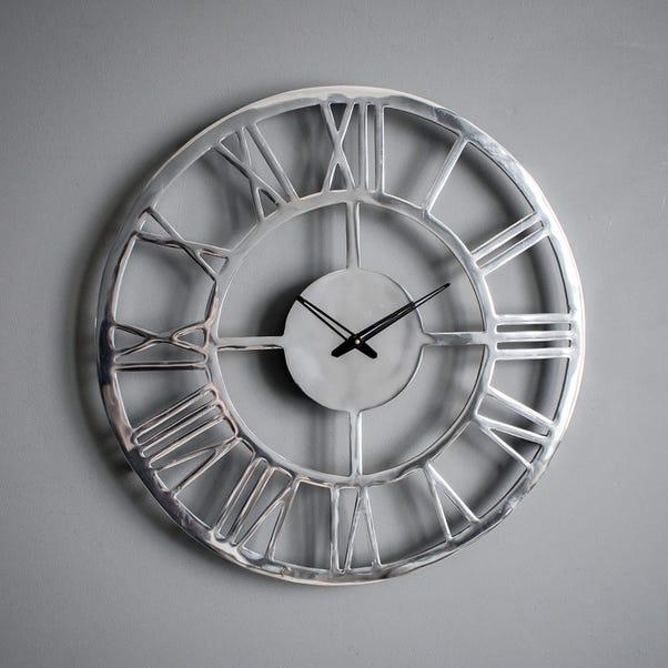 Pavia Polished Aluminium Wall Clock Silver