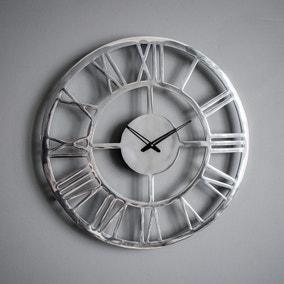 Pavia Polished Aluminium Wall Clock