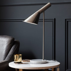 Gallery Direct Harlem Marble and Brushed Nickel Desk Lamp