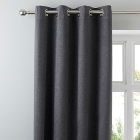 Luna Brushed Charcoal Blackout Eyelet Curtains