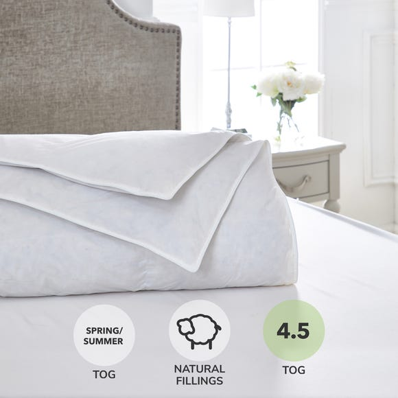 Dorma Luxurious White Goose Down 4.5 Tog Duvet White undefined