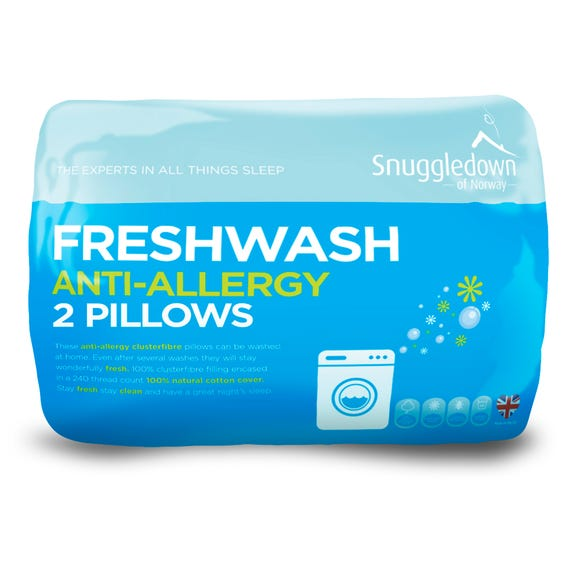 Snuggledown Fresh Wash Anti Allergy Pillow Pair White