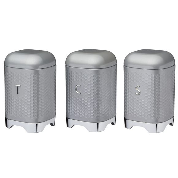 Set of 3 Lovello Grey Tea Coffee and Sugar Canisters Grey