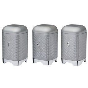 Set of 3 Lovello Grey Tea Coffee and Sugar Canisters