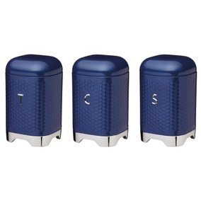 Set of 3 Lovello Blue Tea Coffee and Sugar Canisters
