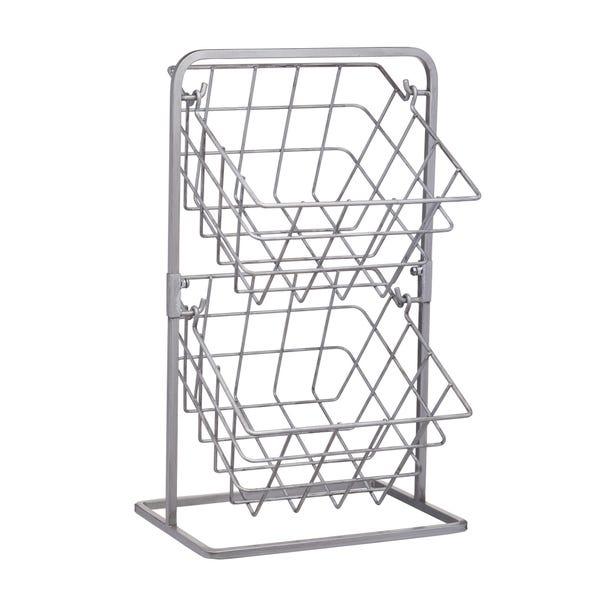 Industrial Kitchen Two Tier Wire Storage Baskets Silver