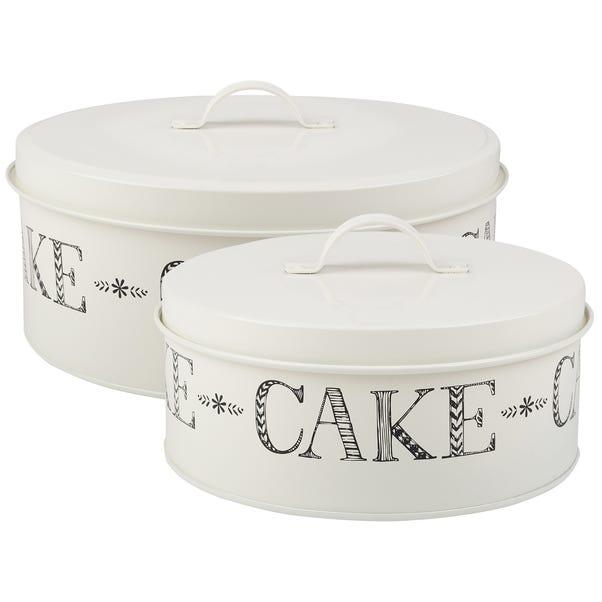 Set of 2 Stir It Up Cake Tins Cream