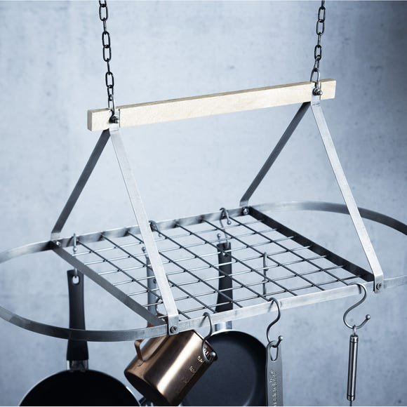 Industrial Kitchen Ceiling Mounted Pot Rack Silver