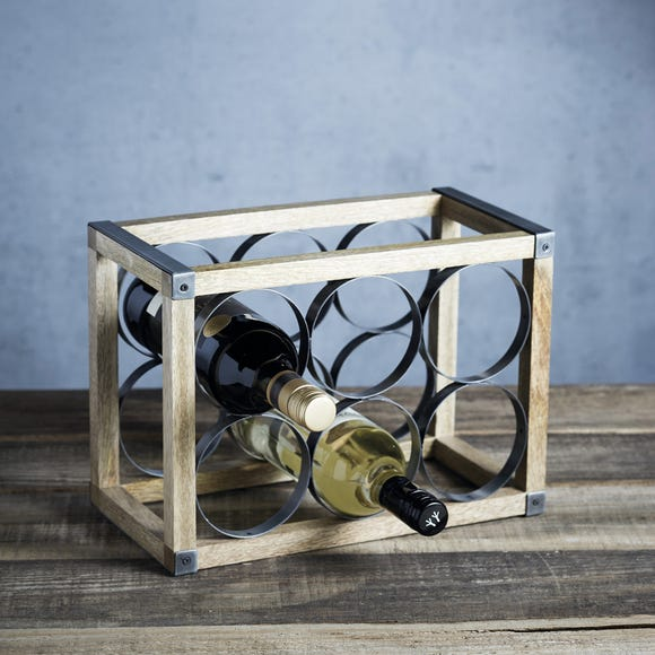 Industrial Kitchen 6 Bottle Wine Rack Silver