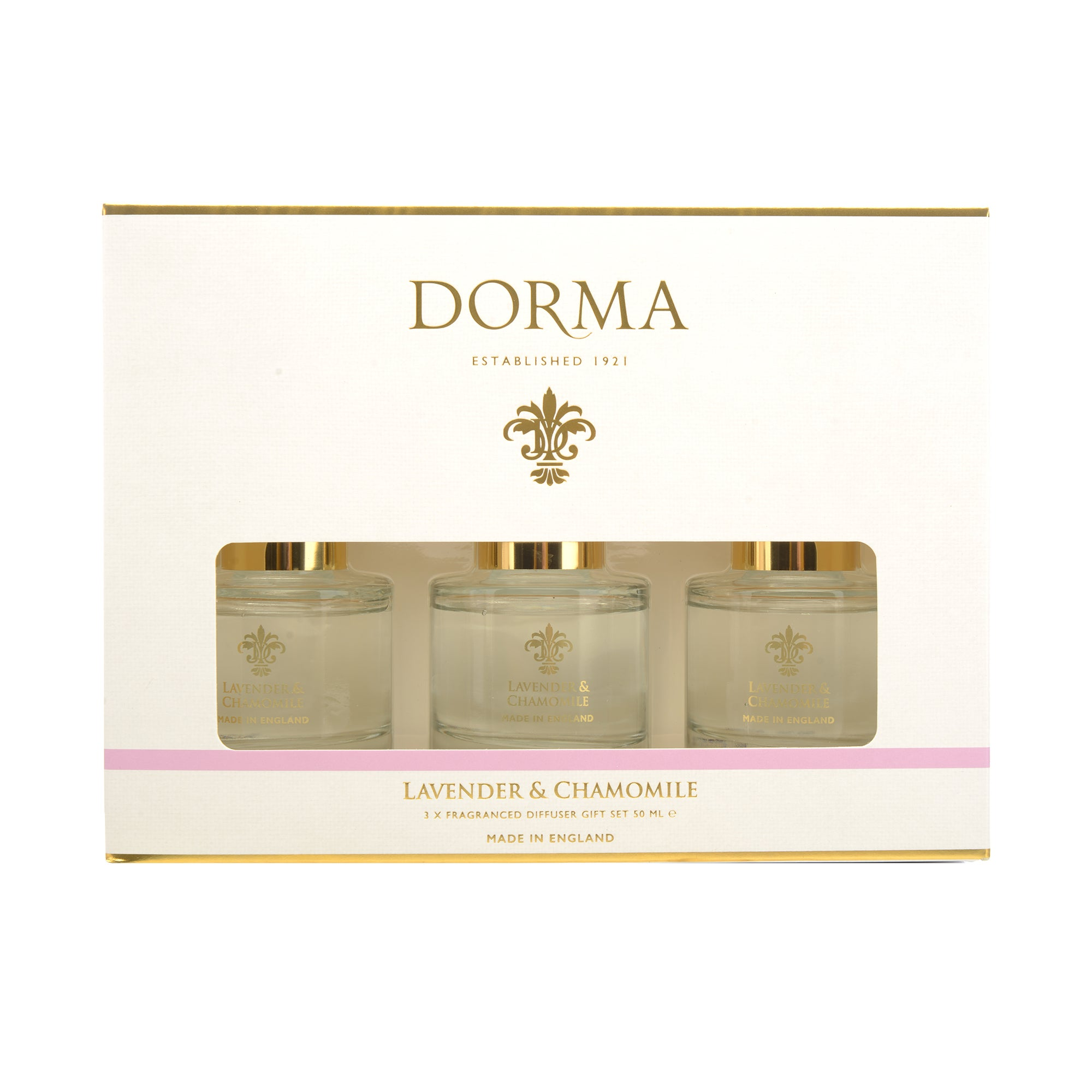 Click to view product details and reviews for Dorma Set Of 3 50ml Lavender And Camomile Reed Diffusers White.