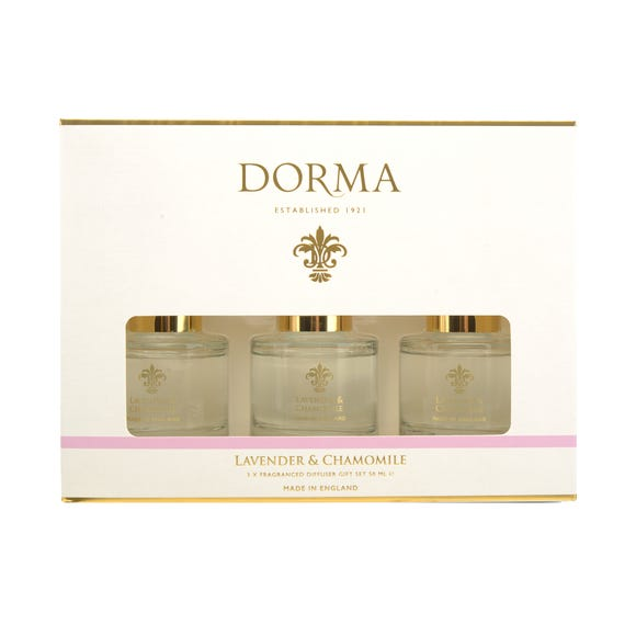 Dorma Set of 3 50ml Lavender and Camomile Reed Diffusers White