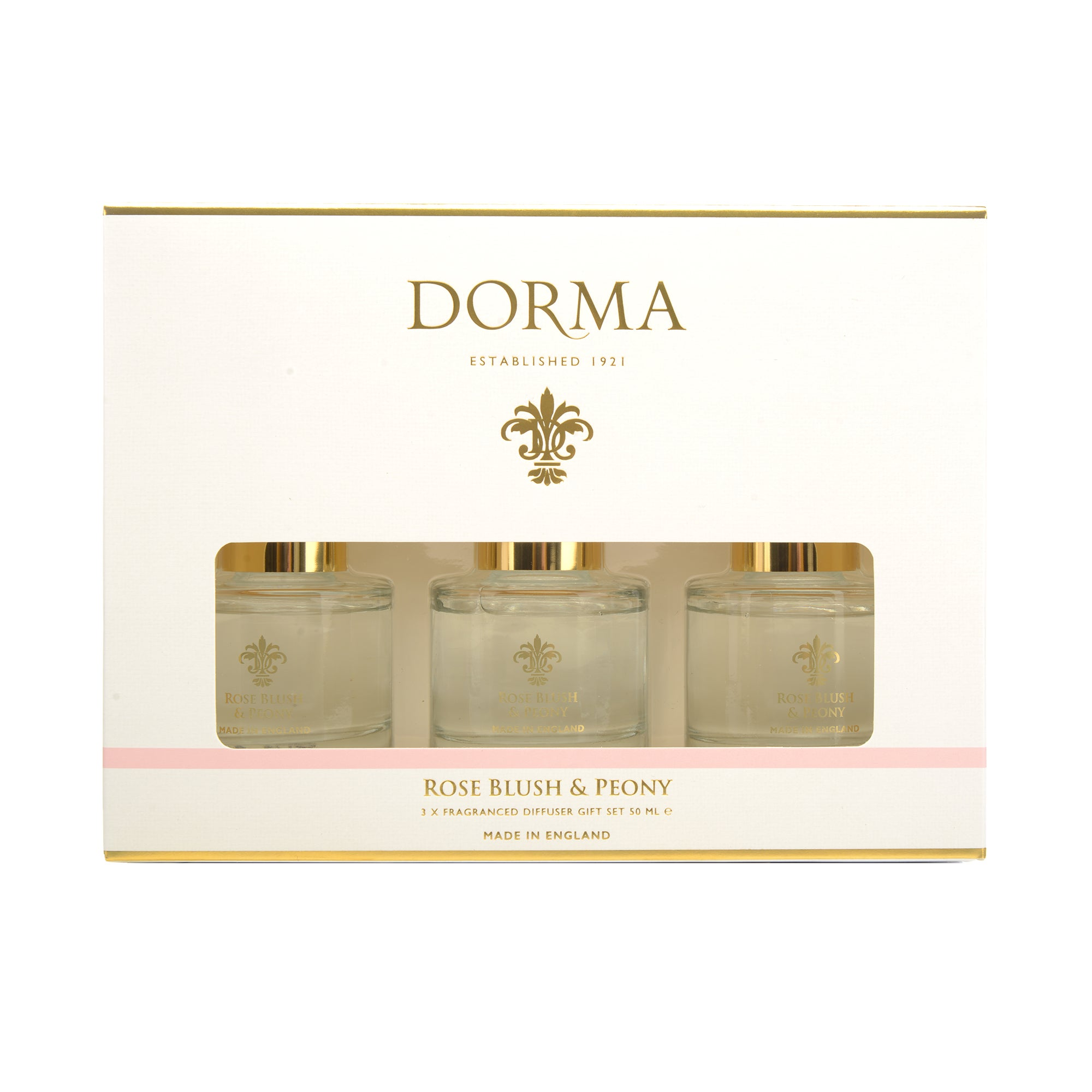 Dorma Rose Blush And Peony Set Of 3 50ml Reed Diffusers White