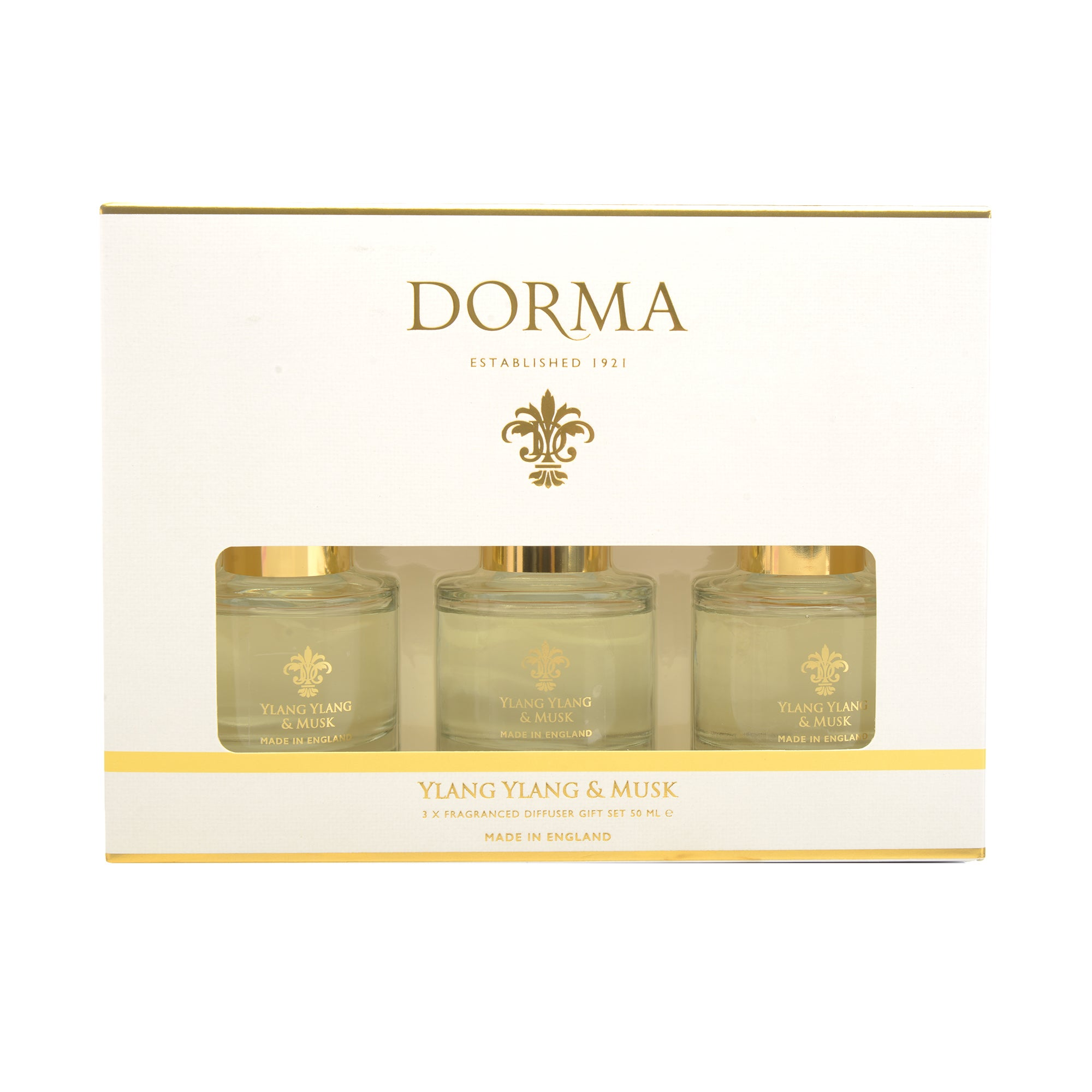 Click to view product details and reviews for Dorma Ylang And Musk Set Of 3 50ml Reed Diffusers White.