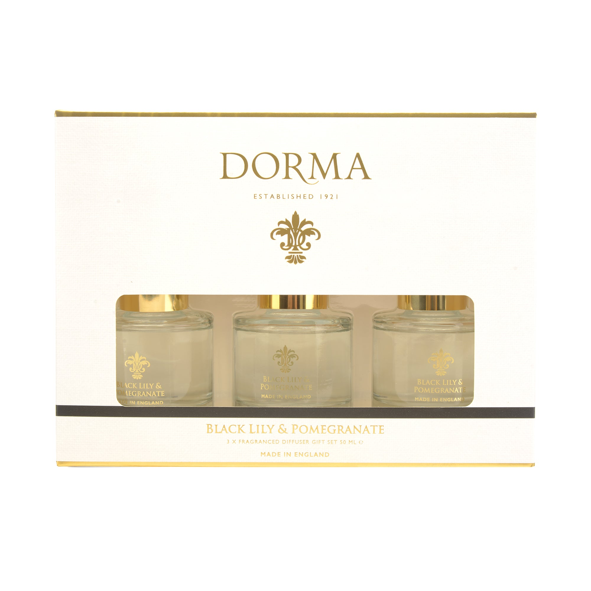 Click to view product details and reviews for Dorma Set Of 3 50ml Black Lily And Pomegranate Reed Diffusers White.