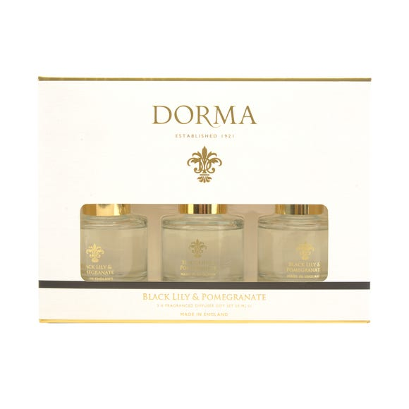 Dorma Set of 3 50ml Black Lily and Pomegranate Reed Diffusers White