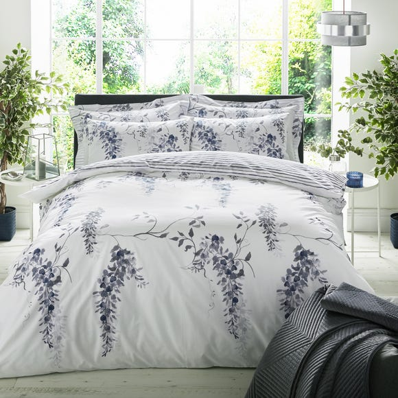 Emma Willis Grace Blue Reversible Duvet Cover and Pillowcase Set Blue undefined