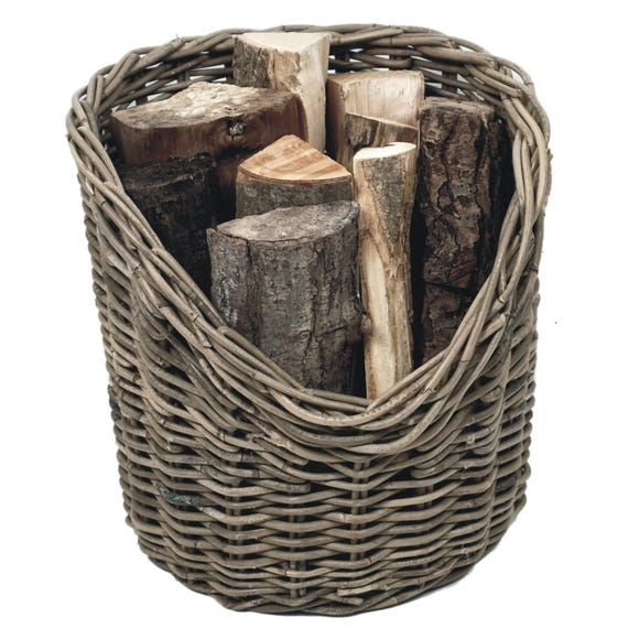 40cm Round Wicker Log Basket Natural