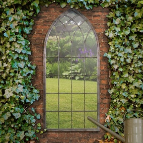 Chapel Distressed Bronze Garden Window Mirror