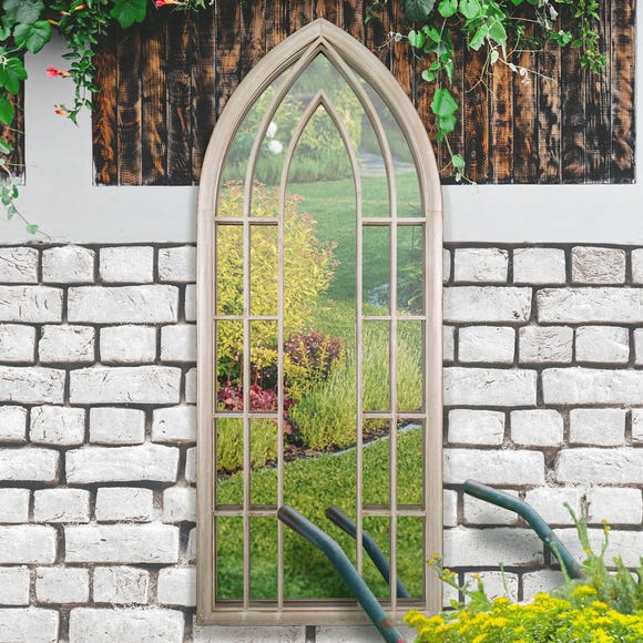 Willow Distressed Sand Outdoor Window Mirror Natural