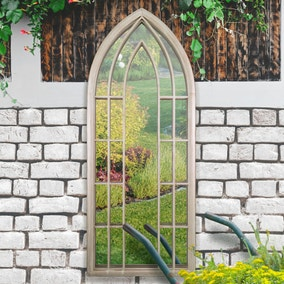 Willow Distressed Sand Garden Window Mirror