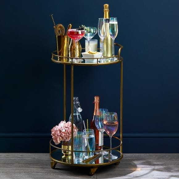 Pimlico Antique Brass Drinks Trolley Antique Brass
