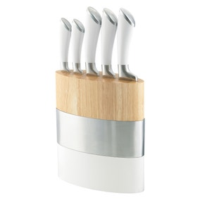 Richardson Sheffield Fusion Stainless Steel White Knife Block Set