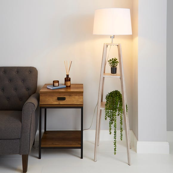 Beaumont Plant Stand Natural Wood Floor Lamp Grey