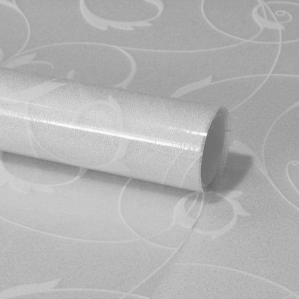 Fablon Scroll Flower Window Film White