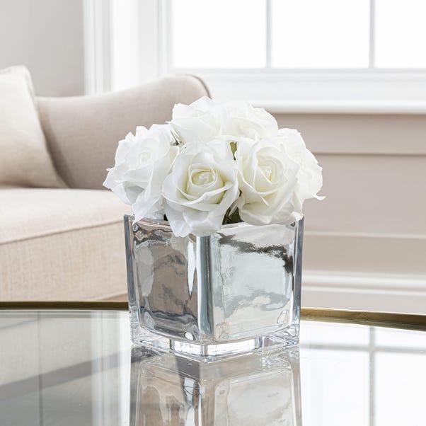 Artificial Roses White in Silver Pot 23cm White