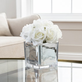 Artificial Roses White in Silver Pot 23cm