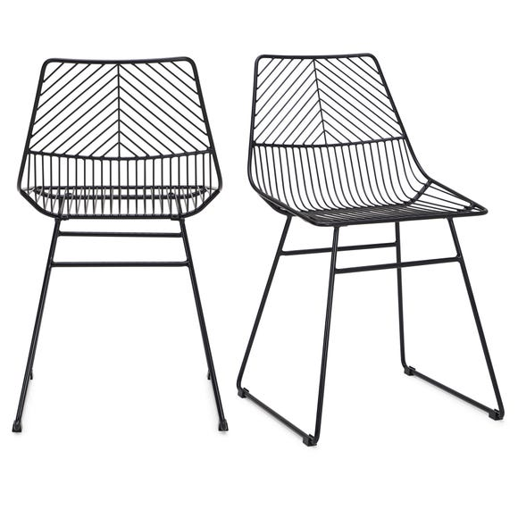 Siena Set of 2 Dining Chairs Black