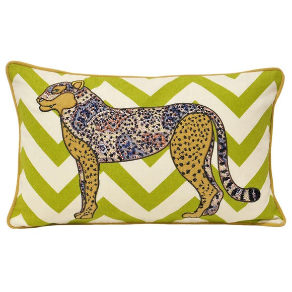 Kruger Cheetah Cushion Yellow