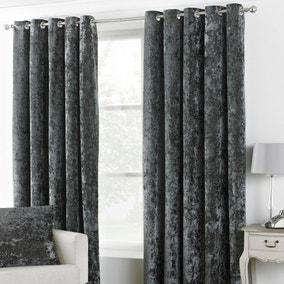 Verona Pewter Velvet Eyelet Curtain
