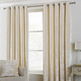 Verona Ivory Velvet Eyelet Curtains