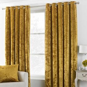 Verona Ochre Velvet Eyelet Curtains