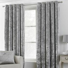 Verona Silver Velvet Eyelet Curtains