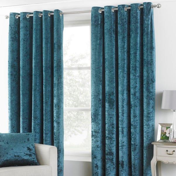 Verona Teal Velvet Eyelet Curtains undefined