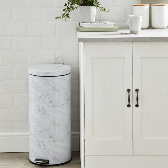 Marble Effect 30 Litre Pedal Bin Black and White