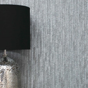 Bergamo Leather Texture Dark Grey and Silver Wallpaper