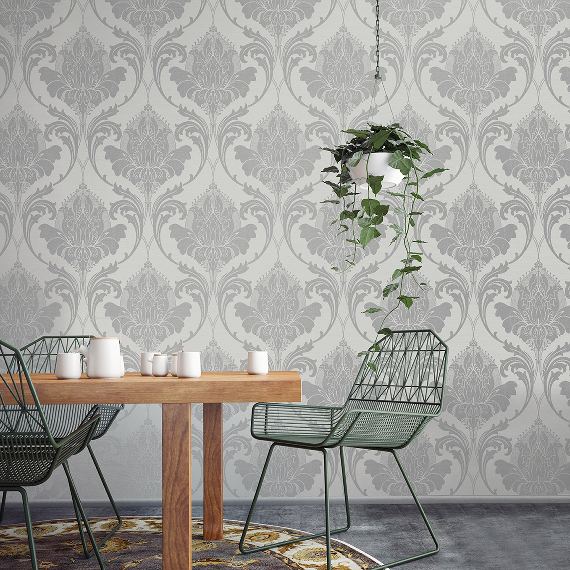Zahra Silver And Grey Wallpaper Silver