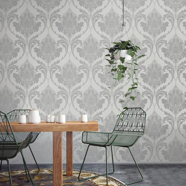Zahra Silver and Grey Wallpaper Silver