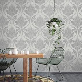 Zahra Silver and Grey Wallpaper