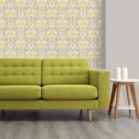 Flora Nouveau Yellow Wallpaper