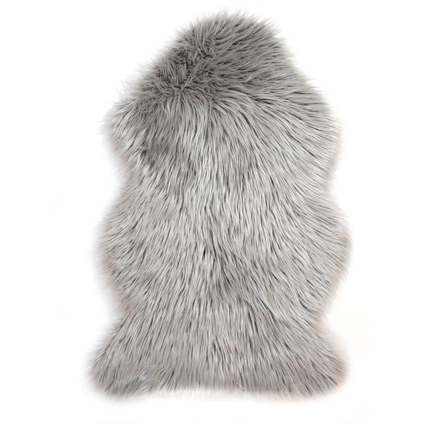 Single Pelt Faux Sheepskin Rug Faux Fur Grey undefined
