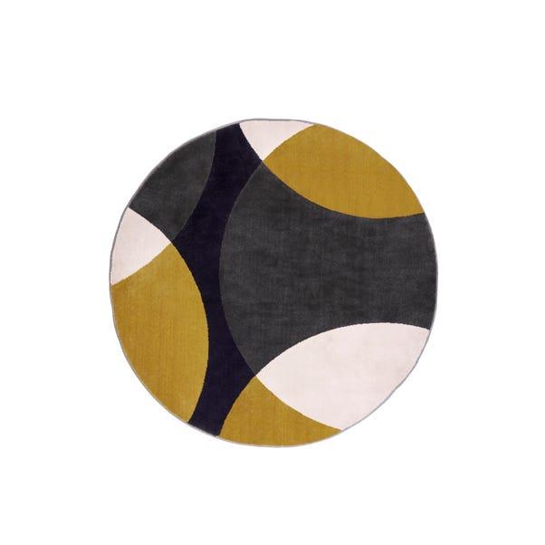 Ochre Abstract Geometric Circles Circle Rug Ochre